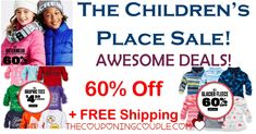 WOOHOO! SAVE 60% off at The Childrens Place! Awesome deals on outerwear, pants, tops and so much more! Great gift deals! FREE SHIPPING ON EVERYTHING!  Click the link below to get all of the details ► http://www.thecouponingcouple.com/the-childrens-place-up-to-50-off-everything-free-shipping/ #Coupons #Couponing #CouponCommunity  Visit us at http://www.thecouponingcouple.com for more great posts!