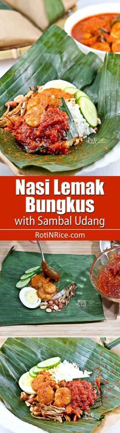 Nasi Lemak Bungkus, Malaysia's most popular breakfast now with sambal udang (prawn sambal). It is a gastronomical delight you don't want to miss.   MalaysianChineseKitchen.com