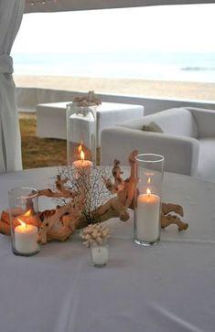 Wedding themes coral beach centerpieces Ideas for 2019 beach wedding Coral Centerpieces, Beach Wedding Centerpieces, Wedding Table Decorations, Centerpiece Ideas, Beach Decorations, Centerpiece Flowers, Simple Centerpieces, Beach Wedding Tables, Wedding Ceremony