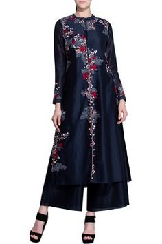 Featuring a midnight blue chanderi anarkali jacket with sequins highlighted red, pink and white floral vine pattern thread work all over. It has a viscose lining By AM:PM .Shop now at www.carmaonlineshop.com. #carma #carmaonline #indiandesigner  #AM:PM #LUXUARY #COUTURE #floral #love #smile #loveforshopping #loveforonlineshopping #happyshopping #shopnow