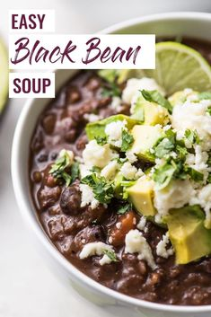 Easy Black Bean Soup Recipe – Isabel Eats This Spicy Vegetarian Black Bean Soup will warm you up from the inside out. This healthy and easy recipe is gluten free, vegetarian and vegan. Mexican Food Recipes, Vegetarian Recipes, Dinner Recipes, Vegan Vegetarian, Cooking Recipes, Healthy Recipes, Vegetarian Sandwiches, Vegetarian Italian, Going Vegetarian