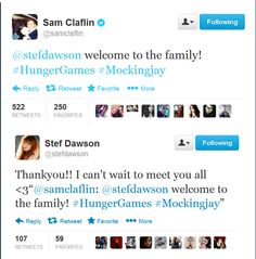 Our Annie and Finnick! its so cute how Sam welcome her right away to the Hunger Games Family and now they are following each other on twitter! now we got 2 Brits and 2 Australian for the hunger games cast! FYI she is Australian i bet her and Liam will get along...
