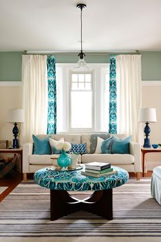 Living Room with Turquoise Accents | see more at http://diningandlivingroom.com/ideas-decorate-living-room-turquoise-accents/