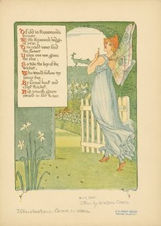 'A floral fantasy in an old English garden' set forth in verses & coloured designs by Walter Crane. Published 1899 by Harper & Brothers, London. See the complete book here. Art Nouveau, Art Deco, Walter Crane, English Artists, Arts And Crafts Movement, British Library, Fairy Art, Old English, Nursery Rhymes