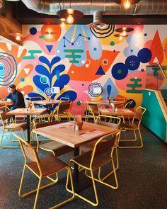 restaurant wall B is for backyard_restaurant amp; Backyard Restaurant, Restaurant Design, Restaurant Restaurant, Mural Wall Art, Mural Painting, Wall Design, House Design, School Murals, New Wall