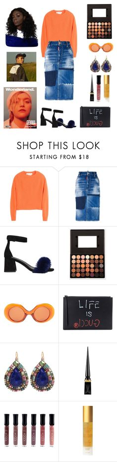 """""""Oranges and blueberry"""" by obeylashaune ❤ liked on Polyvore featuring Marni, Dsquared2, Jeffrey Campbell, The Row, Gucci, Nak Armstrong, Christian Louboutin and Tracie Martyn"""