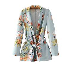 Blazer Feminino New Fashion Slim Long Sleeve Coat Casual Floral Printed Notched Sashes Blazer Women
