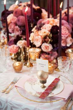 Pink and Purple Table Setting, Fuchsia Wedding Ideas, Wedding Table Top Decor | ElegantWedding.ca #tabletop #weddingideas