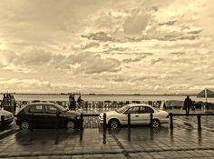 cars by the seaside
