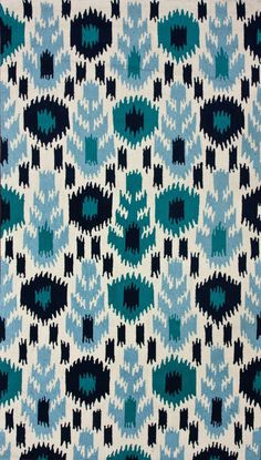 Very graphic, with blue and teal highlights, not too white  Rugs USA Radiante Grove Ikat Synergy Rug