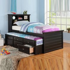 Cottage Youth Kids Bookcase Cherry Black Trundle Drawers Twin Captain Bed Daybed
