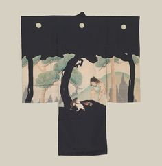 Boy's Christening Kimono - possibly 1890-1892. A silk antique miyamairi kimono featuring unusual yuzen-dyed depictions based on a Japanese folktale. One old Japanese folktale involves the story of Kintaro, a baby abandoned by his parents at birth near Mount Fuji. It is possible that Yoshotoshi was involved in creating the design for this kimono, as the forest scenery and wrestling match imagery seem so complementary and reflective of Yoshotoshi's artistic sensibility.  The Kimono Gallery
