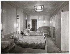 S.S. Normandie, Stateroom #59 with private veranda, Cabin Class, ca. 1935