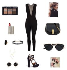 """""""Going to the club w/ jumpsuit"""" by camyelle on Polyvore featuring Aquazzura, Marc Jacobs, Jaeger, Humble Chic, Irene Neuwirth, Christian Dior, Ilia and NARS Cosmetics"""