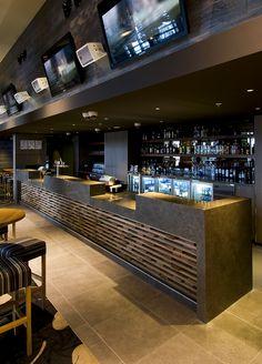 Mon Komo Hotel by Brand + Slater Architects. Bar Interior Design, Colorful Interior Design, Restaurant Interior Design, Cafe Interior, Cafe Design, Cafe Bar, Döner Restaurant, Bar Counter Design, Pub Decor