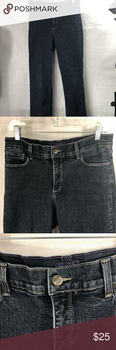 NYDJ Size 12 Dark  Bootcut Tummy Tuck Technology NYDJ Not Your Daughter Jeans Size 12 Dark Wash Tummy tuck Technology Made in the USA 96% Cotton 4% Spandex Previously Owned Great Condition Measurement Garment Laid Flat Waist 15in Inseam 32in NYDJ Jeans Boot Cut