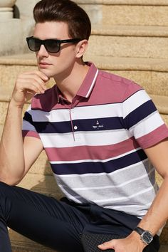 2019 Summer short sleeve polo shirt men casual & business stylish Striped Tace & Shark brand polo shirts homme high quality Tops - My Website 2020 Polo Shirt Outfits, Polo T Shirts, Short Sleeve Polo Shirts, Polo Shirt Style, Business Casual Men, Men Casual, Le Polo, Summer Outfits Men, Best Mens Fashion