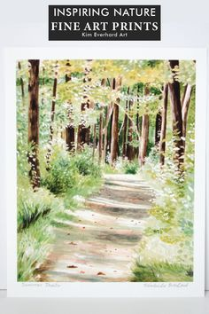Use this beautifully painted nature illustration to bring the beauty and peace of the outdoors into your home. Wouldn't you love to see this lovely summer trail on the wall in your home? Find nature illustrations in watercolor that feed your soul with amazing landscapes from nature. These art prints art hand printed and made for nature lovers. Peaceful wall art | Woodland forest illustrations | Inspirational decor for your home | #watercolorart #art #watercolor #artprints #prints #wallart Watercolor Landscape, Watercolor And Ink, Landscape Art, Landscape Paintings, Landscapes, Forrest Illustration, Framed Art Prints, Fine Art Prints, Nature Illustrations
