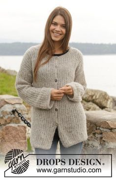 """Brume Cardigan - Knitted DROPS jacket with false English rib in """"Air"""" or """"Brushed Alpaca Silk"""". Size: S - XXXL. - Free pattern by DROPS Design"""