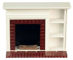 Dollhouse Miniature Furniture Walnut Red Brick Fireplace with Shelves