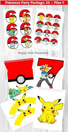 Pokemon Party Package 25 Pokemon party printables files | Etsy Pokemon Party Bags, Pokemon Candy, Pokemon Themed Party, Pokemon Go, Pokemon Number, Pikachu, Lion Birthday, Birthday Candy, Pokemon Birthday