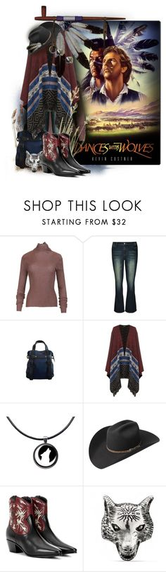 """Dances With Wolves"" by kathy-martenson-sanko ❤ liked on Polyvore featuring City Chic, WearAll, Bailey Western, Yves Saint Laurent, Gucci, Hiro + Wolf and plus size clothing"