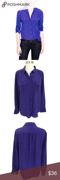 """J. Crew Sz 8 Blythe Violet 100% Silk Blouse J. Crew Sz 8 Blythe Violet Silk Blouse🔸Size 8🔸Violet (blue purple color)🔸Drapey and feminine silk crepe de chine🔸Tailored fit🔸Functional buttons at cuffs🔸100% Silk🔸Bust 34-36""""🔸Length approx. 25 1/2""""🔸Bust 19 1/2"""" across laying flat🔸Long Sleeve🔸Button Down🔸Pre owned great condition! J. Crew Tops Blouses"""