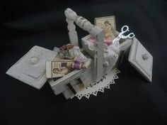 Shabby chic accesorized wooden sewingbox 1/12th scale