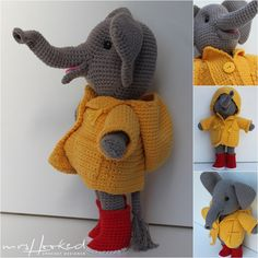 Olly im Regen. Crochet Animals, Crochet Toys, Crochet Baby, Knit Crochet, Halloween Toys, Halloween Crochet, Crochet Elephant, Homemade Toys, Beautiful Crochet