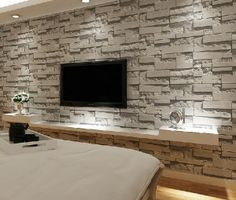 Absolutely stunning realistic dry stone wall brick effect for Brick wallpaper living room ideas