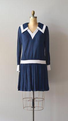 1960s mod dress / nautical 60s dress / Ship to Shore dress