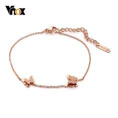 Butterfly Sandblasting Rose Gold GP Link Chain Stainless Steel Ankle Bracelet
