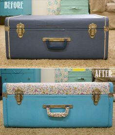 From Old Luggage Piece to Stylish Home Decor -- {DIY Fabric-Covered Vintage Suitcase!}