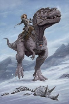 Lady riding a dinosaur... your argument is invalid.