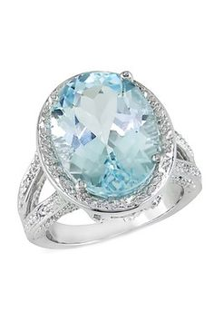 Sterling Silver Oval Sky Blue & Textured White Topaz Halo Ring