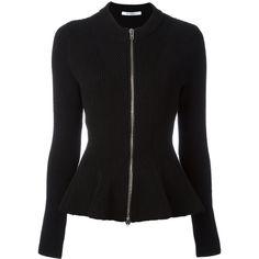 Givenchy Zip Peplum Cardigan ($1,656) ❤ liked on Polyvore featuring tops, cardigans, peplum cardigan, zipper top, zip front top, zip front peplum top and zip-front cardigan