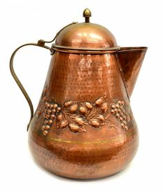 Large Italian copper hand hammered vessels, each with repousse relief of grape clusters and vines, made by Romi R. Copper Pots, Copper Kitchen, Copper And Brass, Antique Copper, Copper Accents, Iron Decor, Tea Set, Vintage Antiques, Teapots