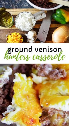Easy deer meat ground venison recipe with layers of golden potatoes, green chili. - meat-recipes - Easy deer meat ground venison recipe with layers of golden potatoes, green chilis, lots of garlic and a savory blend of soft cheeses. Elk Recipes, Easy Meat Recipes, Potato Recipes, Lunch Recipes, Easy Meals, Cooking Recipes, Healthy Recipes, Recipes With Deer Meat, Deer Burger Recipes