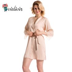 Vislivin 2017 New product Mid-sleeve sexy women nightwear robes lace real silk female bathrobes 9 colors nightie negligee