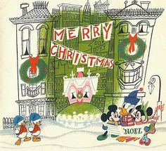 Disney Christmas card 1952 - featuring Donald (and two of his nephews), Mickey and Minnie Mouse. Disney Christmas Cards, Disney Cards, Retro Christmas, Christmas Past, Vintage Christmas Cards, Vintage Holiday, Vintage Cards, Holiday Cards, Xmas Cards