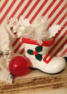 Kitsch Christmas Boot~ Santa Boot Planter, Vintage Christmas Boot, White with Holly, Ceramic, 1950s Holiday Decor, Retro Christmas, Kitschy by ThePokeyPoodle on Etsy