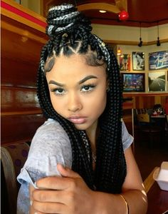 Love the box braids especially the triangle shaped parts