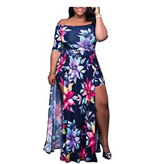 346130fff2 HÖTER Hoter Womens Off Shoulder Printing Conjoined Plus Dress Party Split  Maxi Romper Dress