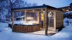 Garden Sauna With Shower And Jacuzzi Gartensauna mit Dusche und Whirlpool Outdoor Sauna, Jacuzzi Outdoor, Canopy Outdoor, Outdoor Pergola, Indoor Outdoor, Hot Tub Patio, Hot Tub Gazebo, Hot Tub Garden, Sauna House