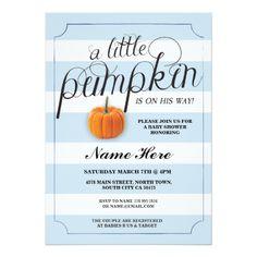 Baby Shower Pumpkin Blue Boy Stripe Harvest Invite