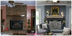brick fireplaces with mantels in photos - Google Search