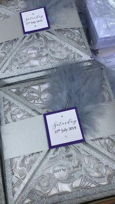 Laser cut wedding invitations silver purple floral feather design Laser Cut Wedding Invitations, Invites, Feather Design, Rsvp, Purple, Frame, Floral, Silver, Handmade