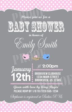 Personalized Nesting Birds Baby Shower Invitations