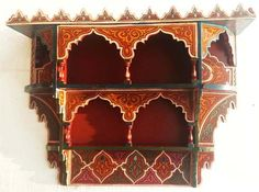 "Hand painted moroccan shelf $340 CND - http://www.justmorocco.com/pd-hand-painted-moroccan-shelf.cfm             28""X22""X6"""