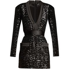Satin-lapel sequin-embellished mini dress Balmain MATCHESFASHION.COM ($3,690) ❤ liked on Polyvore featuring balmain